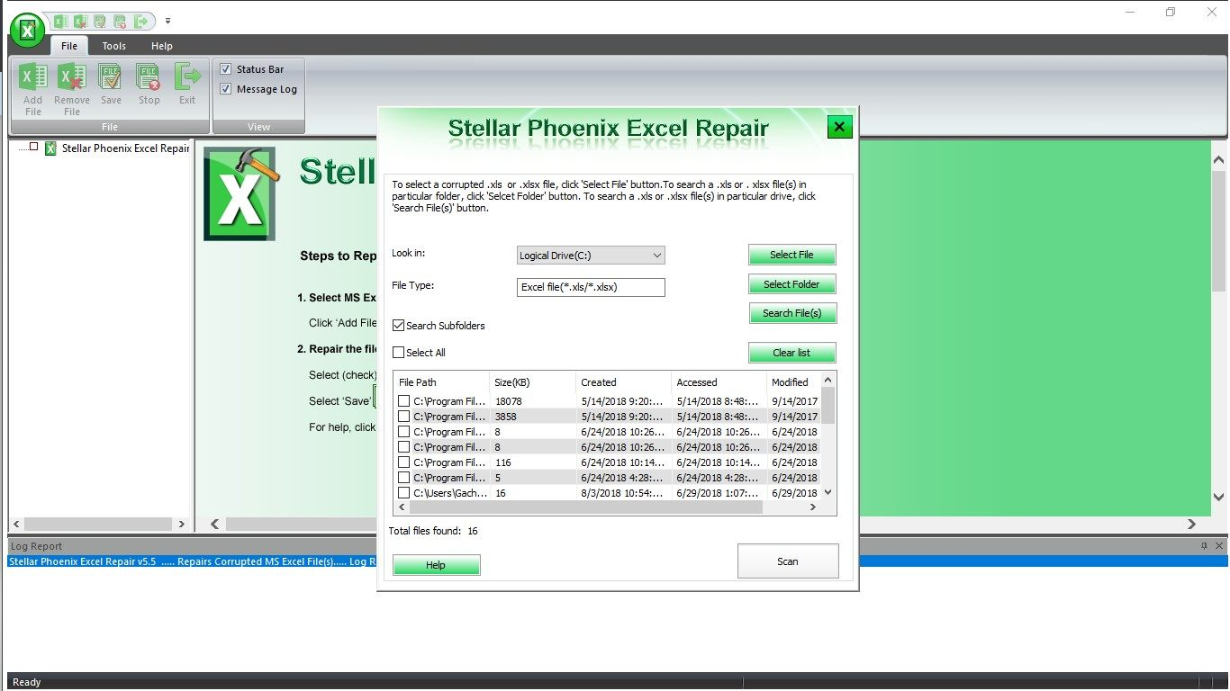 scan and repair the excel files