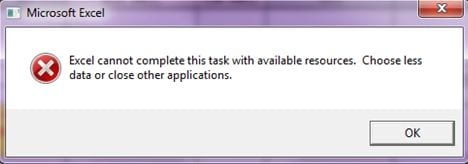excel cannot complete this task with available resources