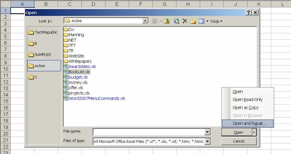 open and repair excel 2003