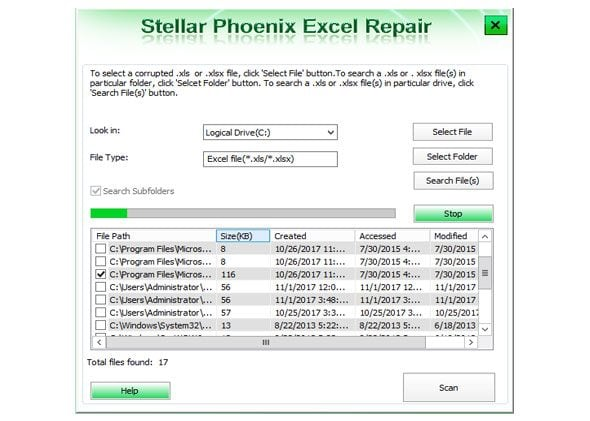 scan the excel files