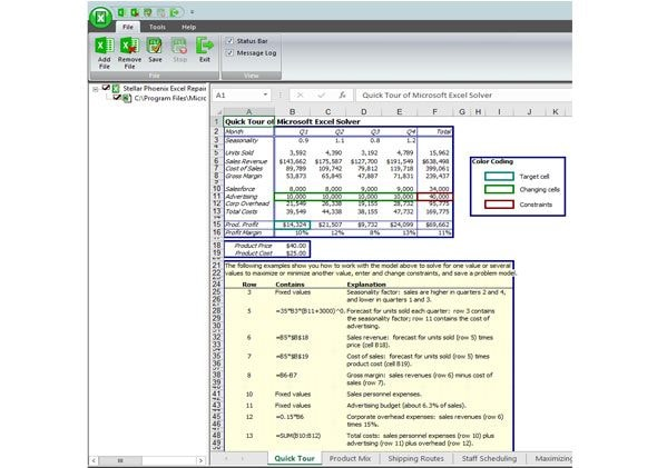 restore the excel files