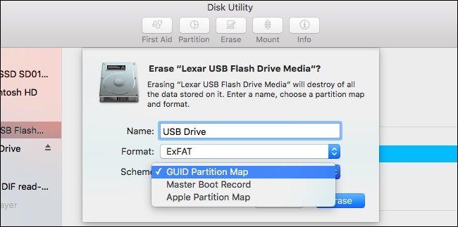 esquema de utilidad de disco mac