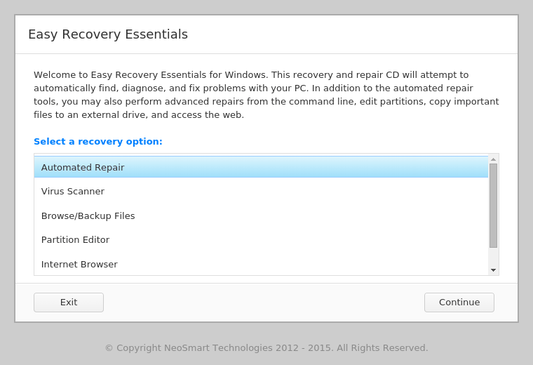 easy recovery essentials per windows