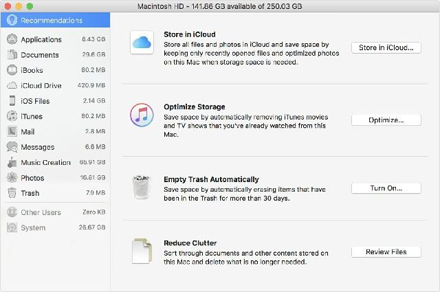 mac inbuilt disk optimization options