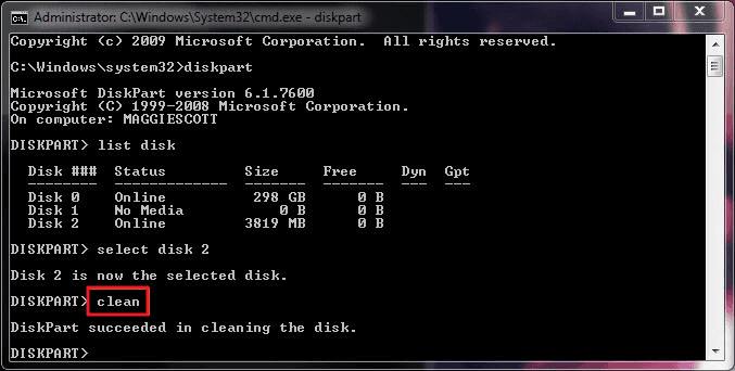 diskpart-format-type-clean-to-format-disk