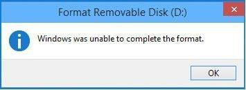 can't format usb flash drive error