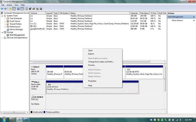 window showing format option