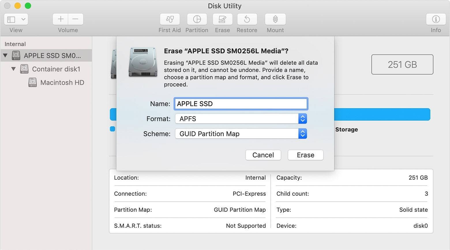 click Erase to format HD on Mac