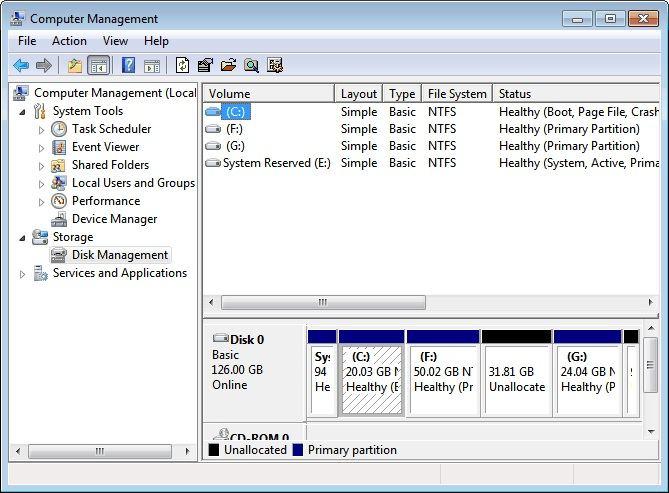 Datenträgerverwaltung auf der linken Seite