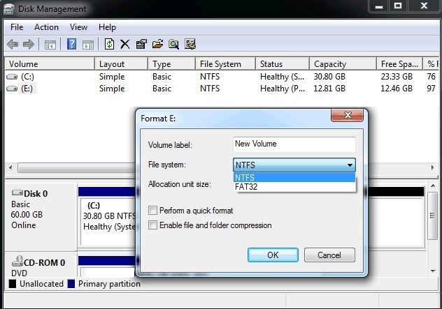 format hard drive on windows 7
