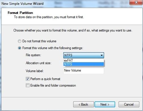 format the new volume on windows 7