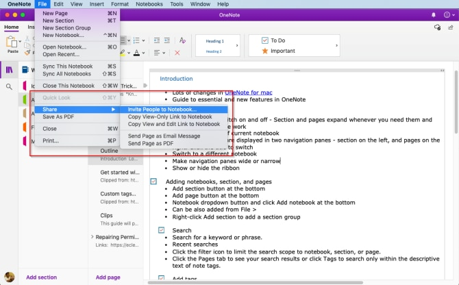how-to-share-onenote-notebook-on-mac