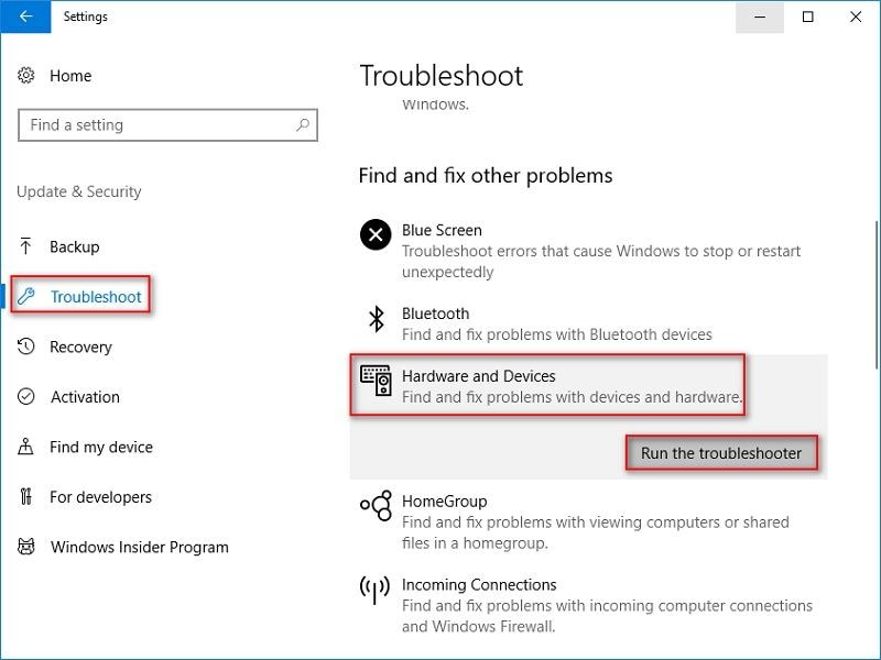 troubleshoot, hardware and devices and run the troubleshooter highlighted
