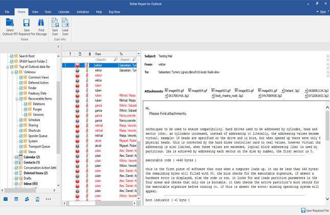 repair- outlook pst files