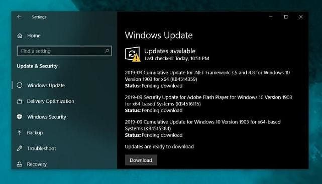image windows 10 new security update