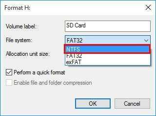 format sd card to ntfs