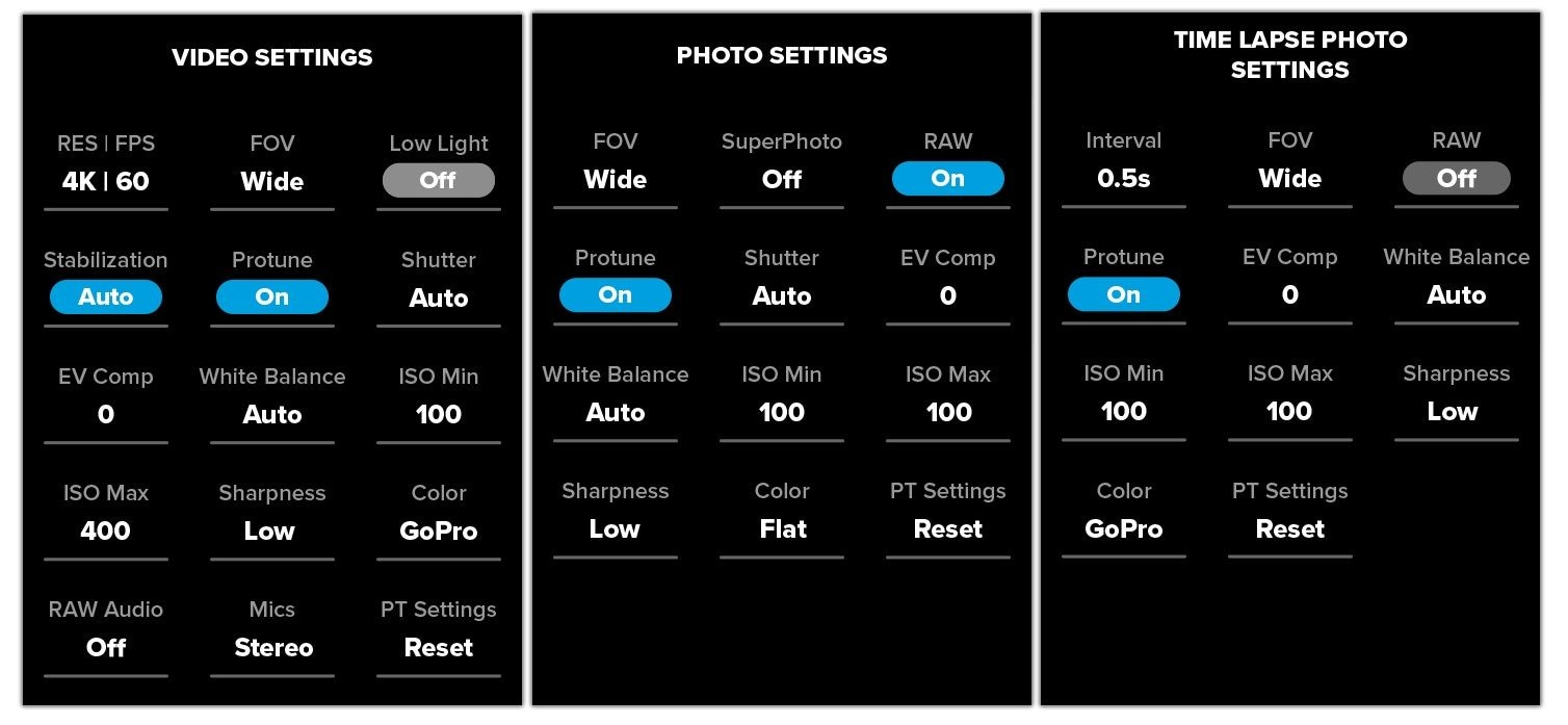 gopro hero7 settings