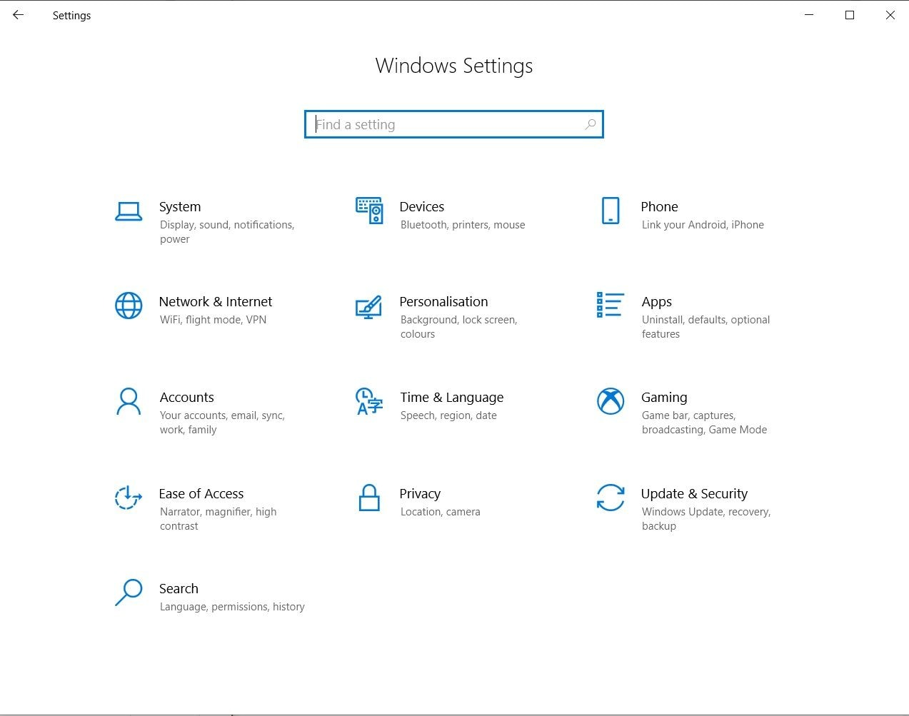 select system in Windows Settings
