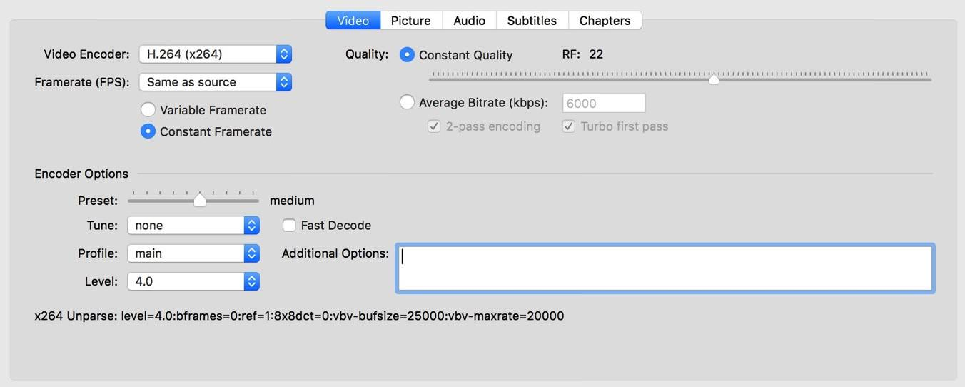 Tweak your Encoder Options