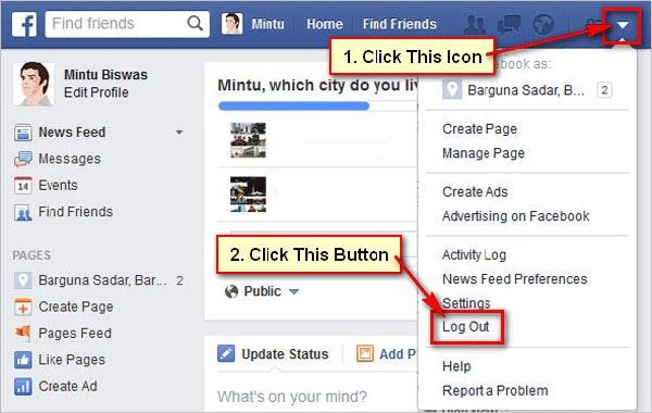 abmelden und wieder bei Facebok anmelden
