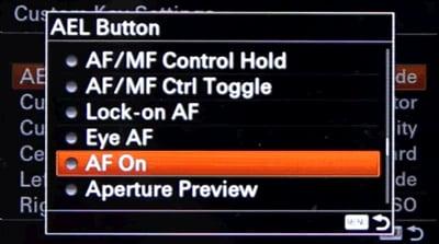 lock on autofocus option