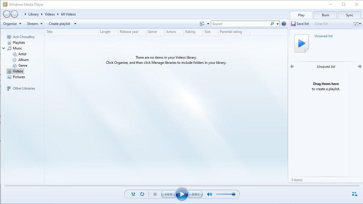 Windows Media Player wird nicht abgespielt