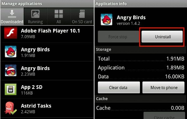 uninstall option highlighted in application info