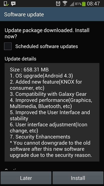 android software updates details on the mobile screen