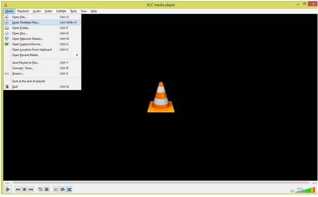 opening file uploading menu in VLC