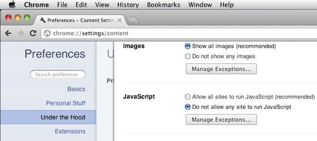 enable javascript on chrome