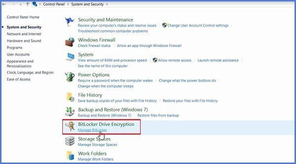 click on turn off bitLocker encryption