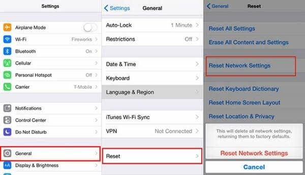 reset iphone network settings