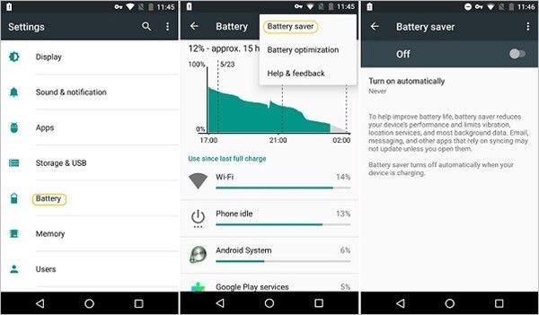 Android-Energiesparmodus deaktivieren