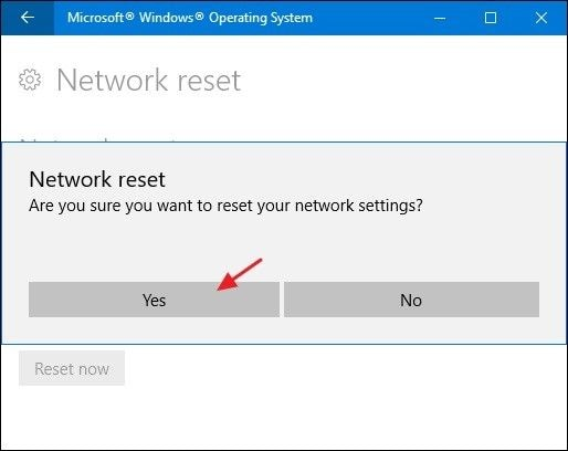Netzwerk-Reset bestätigen