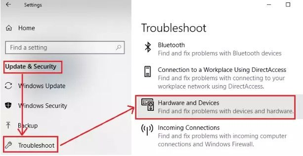 trouleshoot hardware and devices