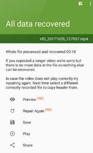 How to export and preview the repaired video file