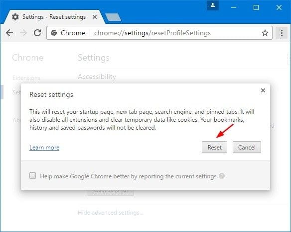 complete chrome reset