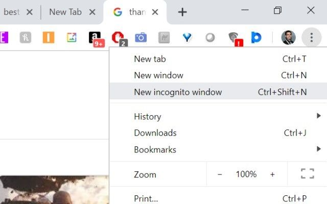 new incognito window option
