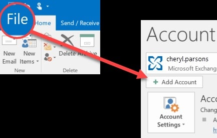 an arrow pointing to add an account