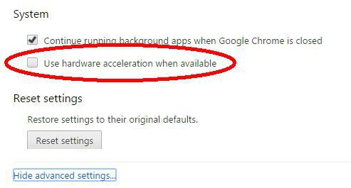 uncheck acceleration