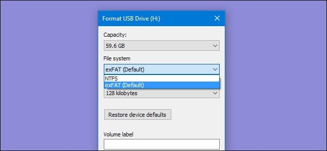 format 128gb usb flash drive to fat32 2