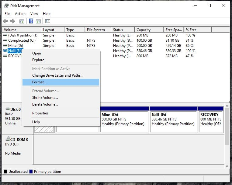using disk manager to format kingston usb drive