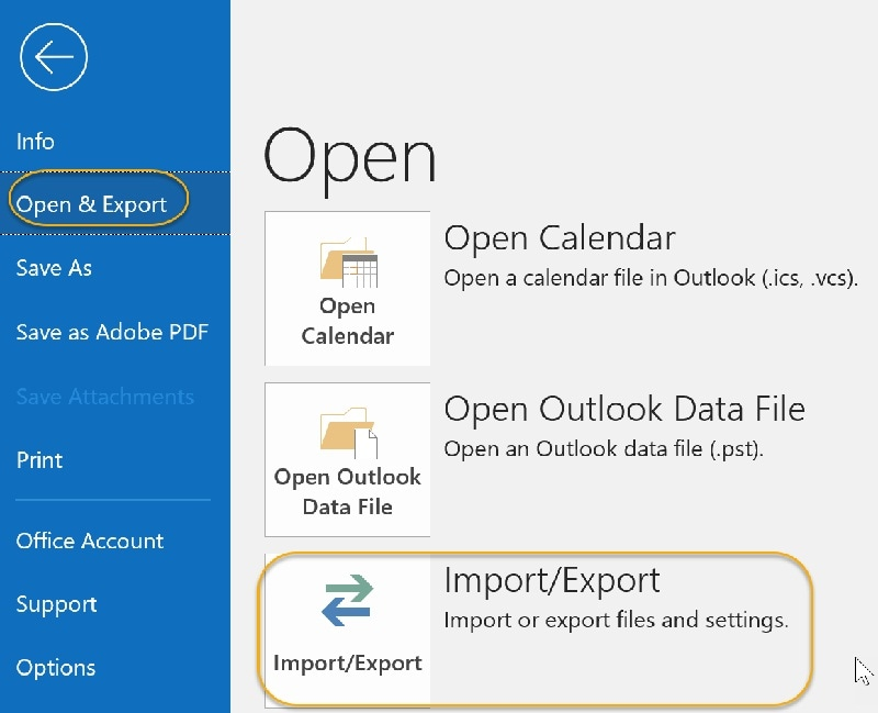 import export option highlighted