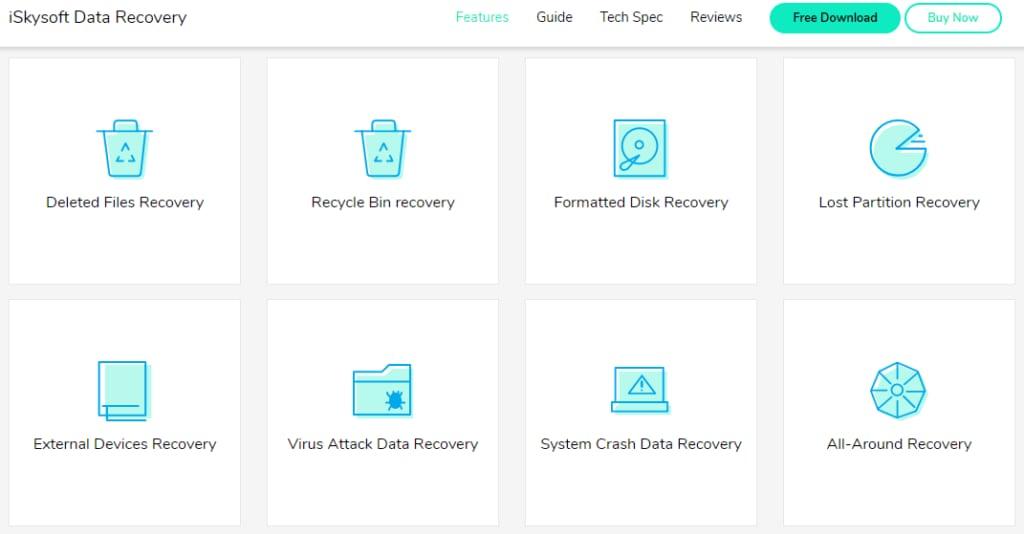 iskysoft data recovery main interface