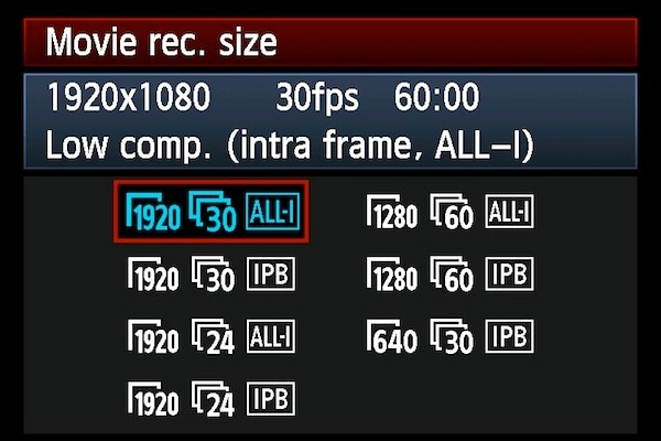 movie recording sizes