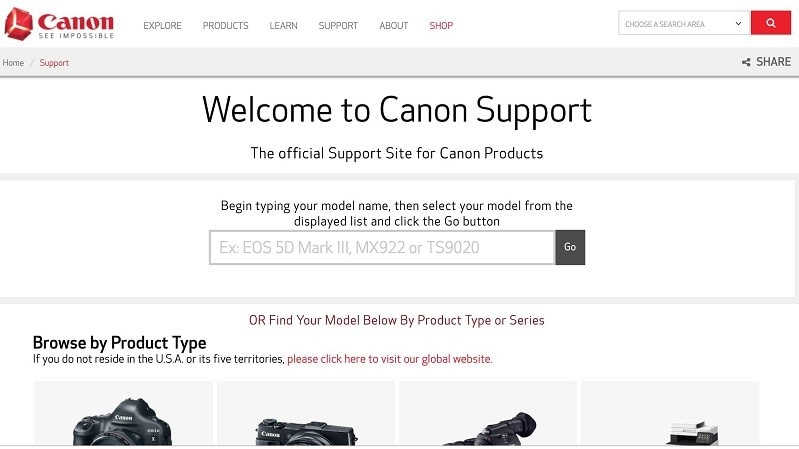 canon support page