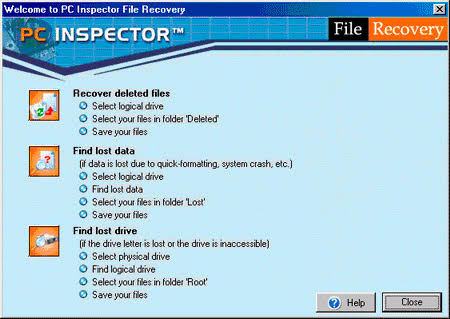 pc inspector file recovery welcome page
