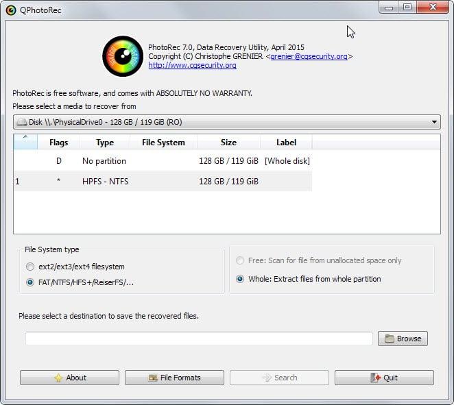 photorec data recovery main interface