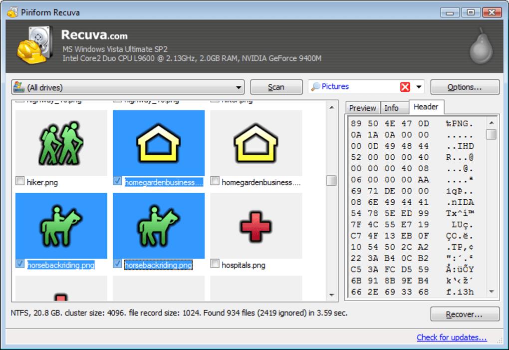 recuva data recovery main interface