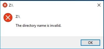 the directory name is invalid 1